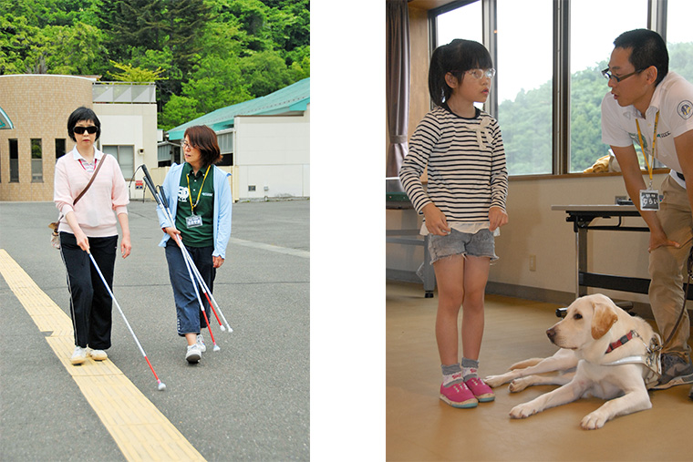 視覚障害リハビリテーションの様子